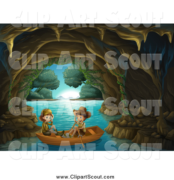 Clipart of Explorer Kids in a Water Cave by colematt.