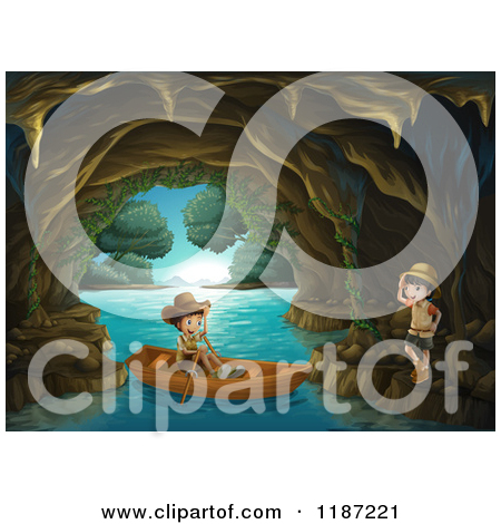 Cartoon of a Cave with Vines and Blue Water.