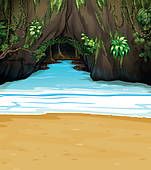Clipart of A cave and water k12176545.