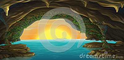 Water Cave Stock Illustrations.