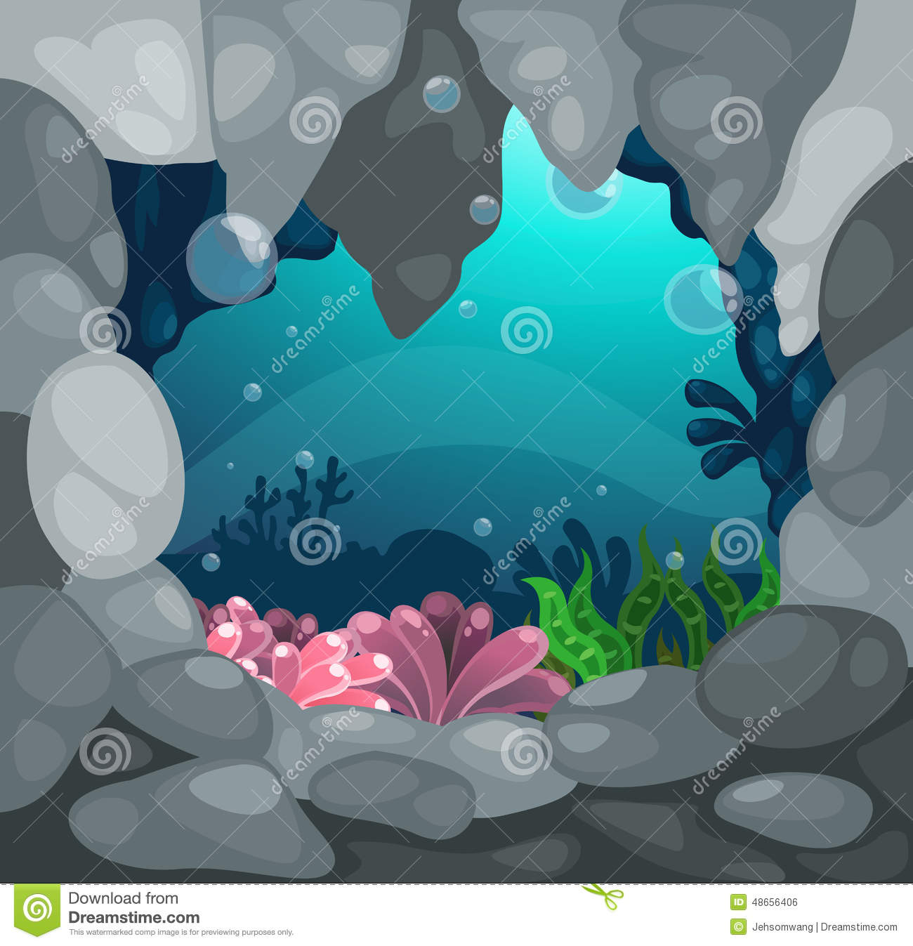 Cave Under Sea Background Stock Illustrations.