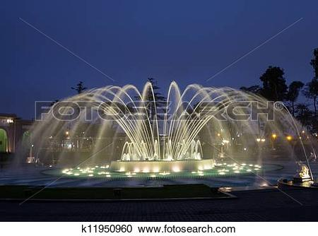 Stock Photography of Magical Water Circuit in Reserve Park Lima.