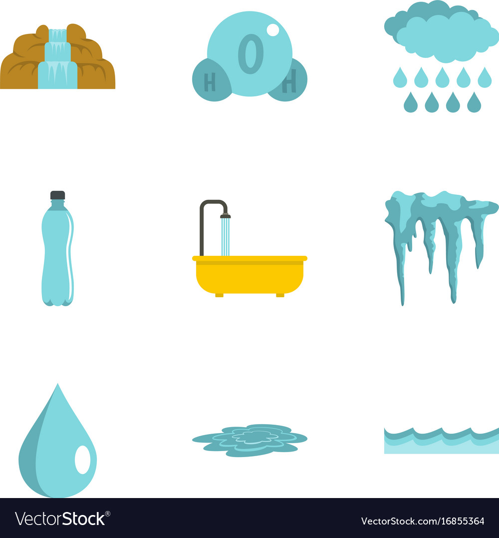 Different water form icon set flat style.