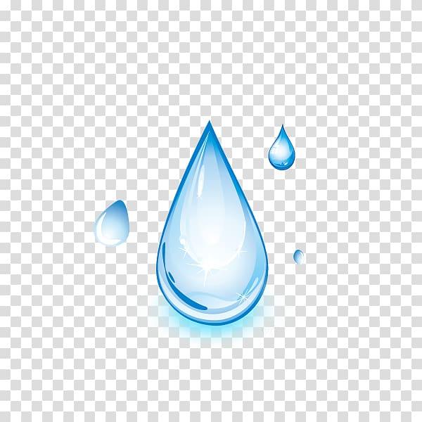 Blue water drop artwork, Drop Distilled water Light, Cartoon.