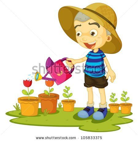 illustration of a girl watering plants on a white background.