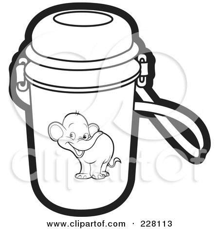 Clipart Graphic of a Black and White Walking Baby Elephant.