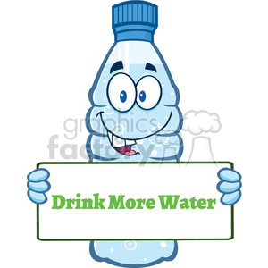 of a water plastic bottle cartoon mascot character holding a sign with text  drink more water vector illustration isolated on white background clipart..