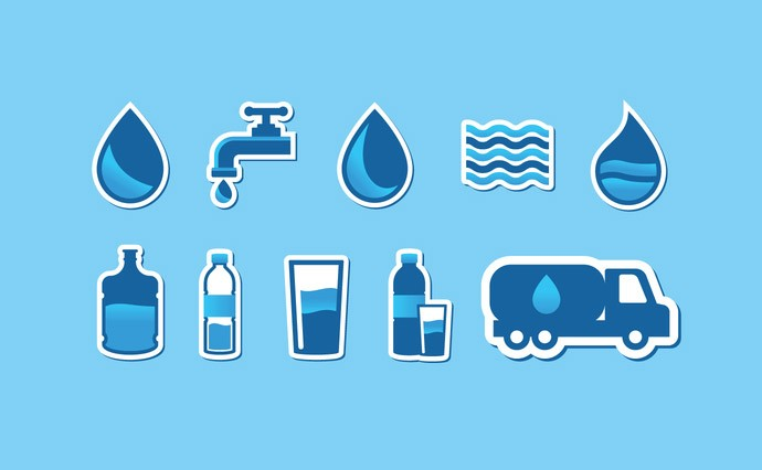 Free Water Vector Clipart. Aqua Logos and Icons.