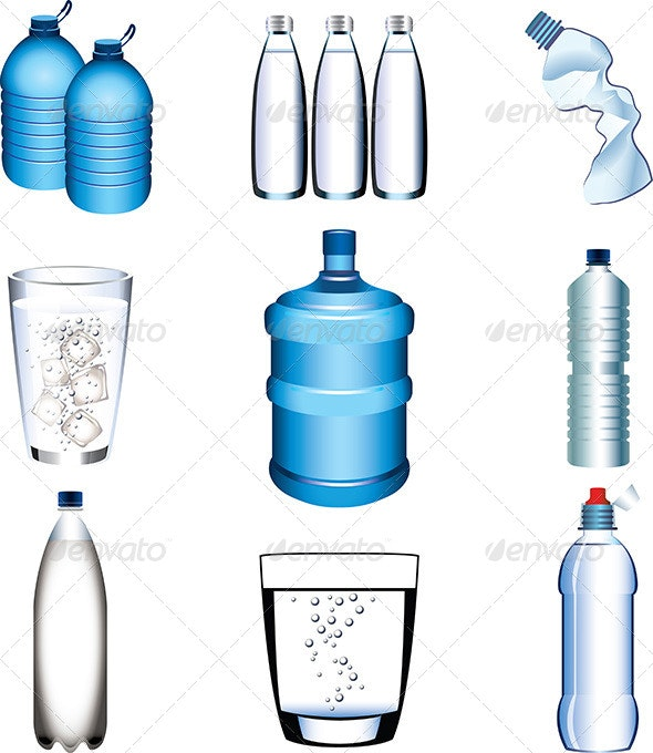 Water Bottle and Glasses Vector Set.