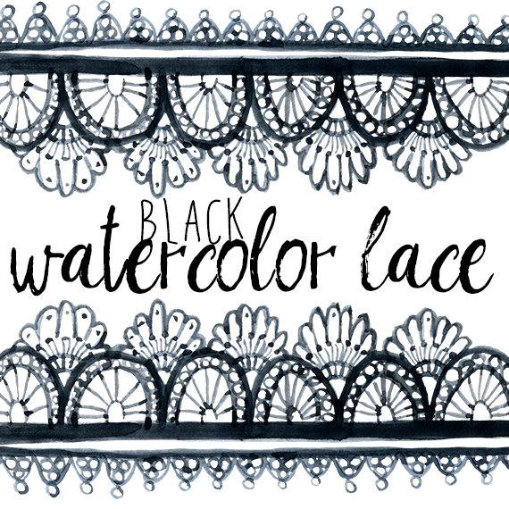 Black Watercolor Lace Wedding Borders Clipart Borders Clip.