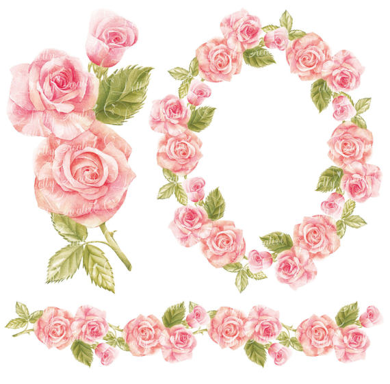 Watercolor wreath watercolor border hand painted clipart.