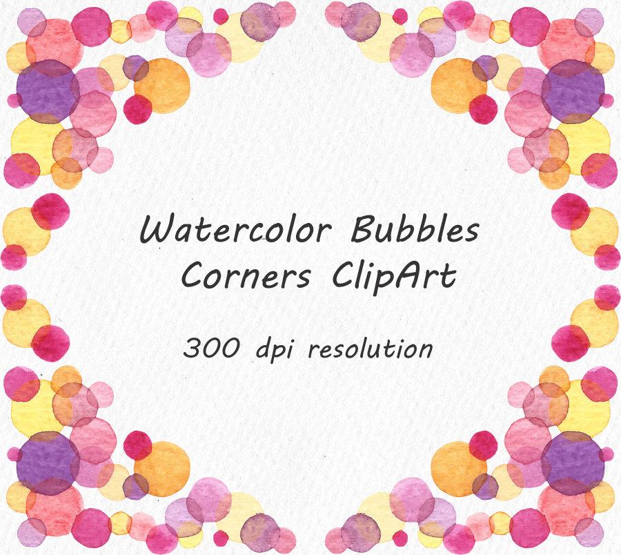 Watercolor Bubbles Corners ClipArt Border Bubbles.