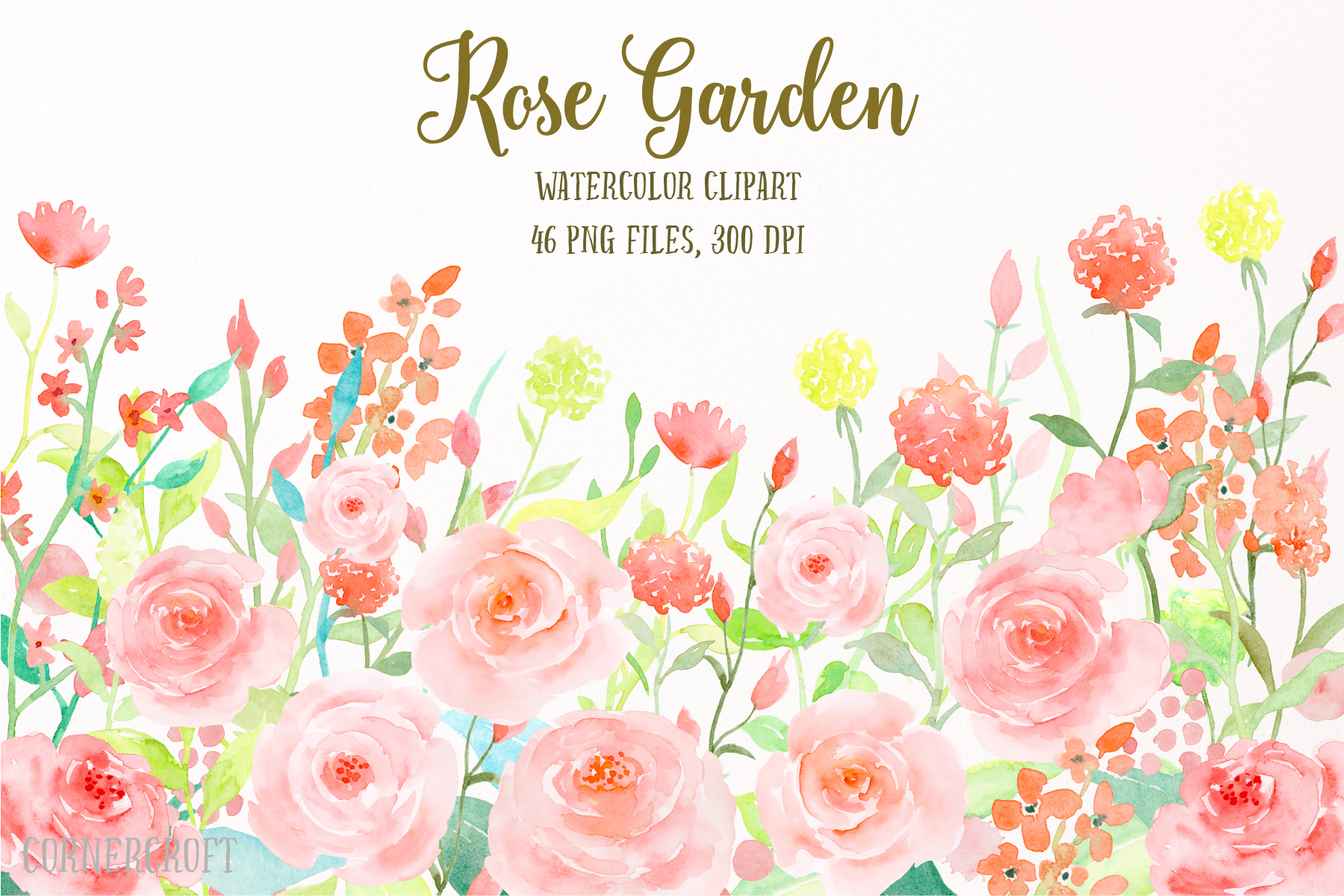 Watercolor Flower Collection Rose Garden, Watercolor Clipart.