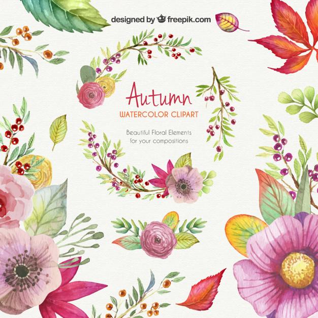 Autumn watercolor clipart Vector.
