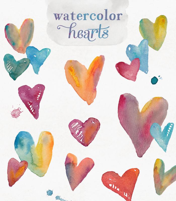 Watercolor Hearts Clip Art.