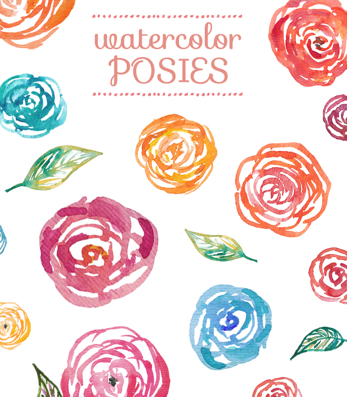 Watercolor Clipart Flowers.