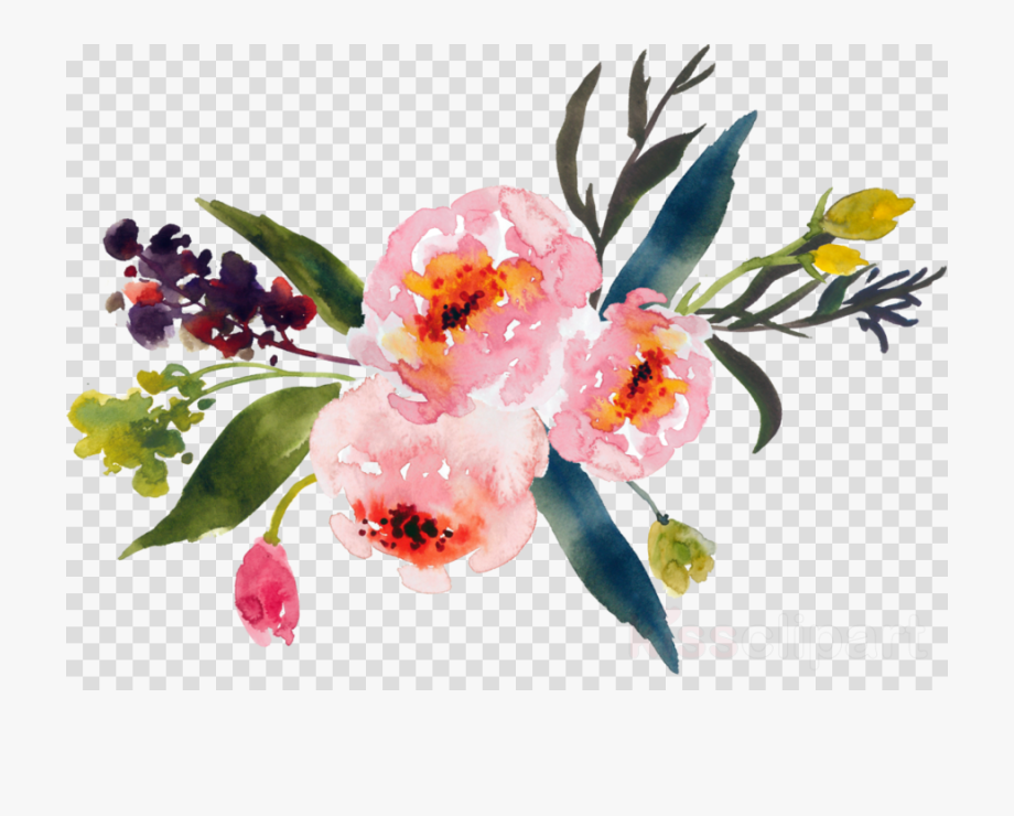 Spring Flowers Clipart Watercolor.