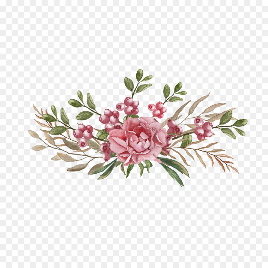 Flowers Wedding Invitation Watercolor clipart.