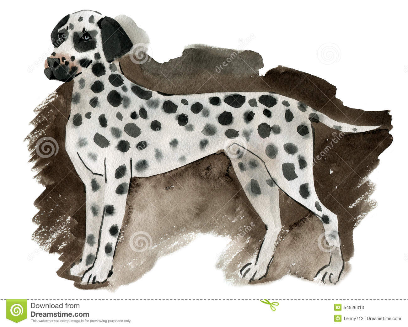 Watercolor Illustration Of A Dog Dalmatian Stock Illustration.