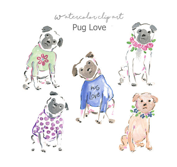 Watercolor Dogs Clip Art Collection.