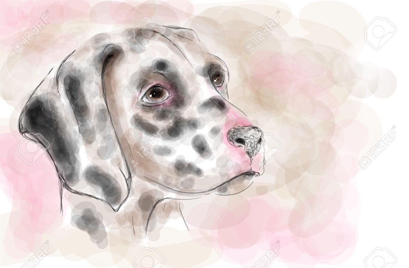 Dalmatian Dog Aquarelle Painting Imitation Royalty Free Cliparts.