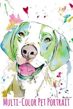 Custom Purple Tone Painted Pet Portrait.