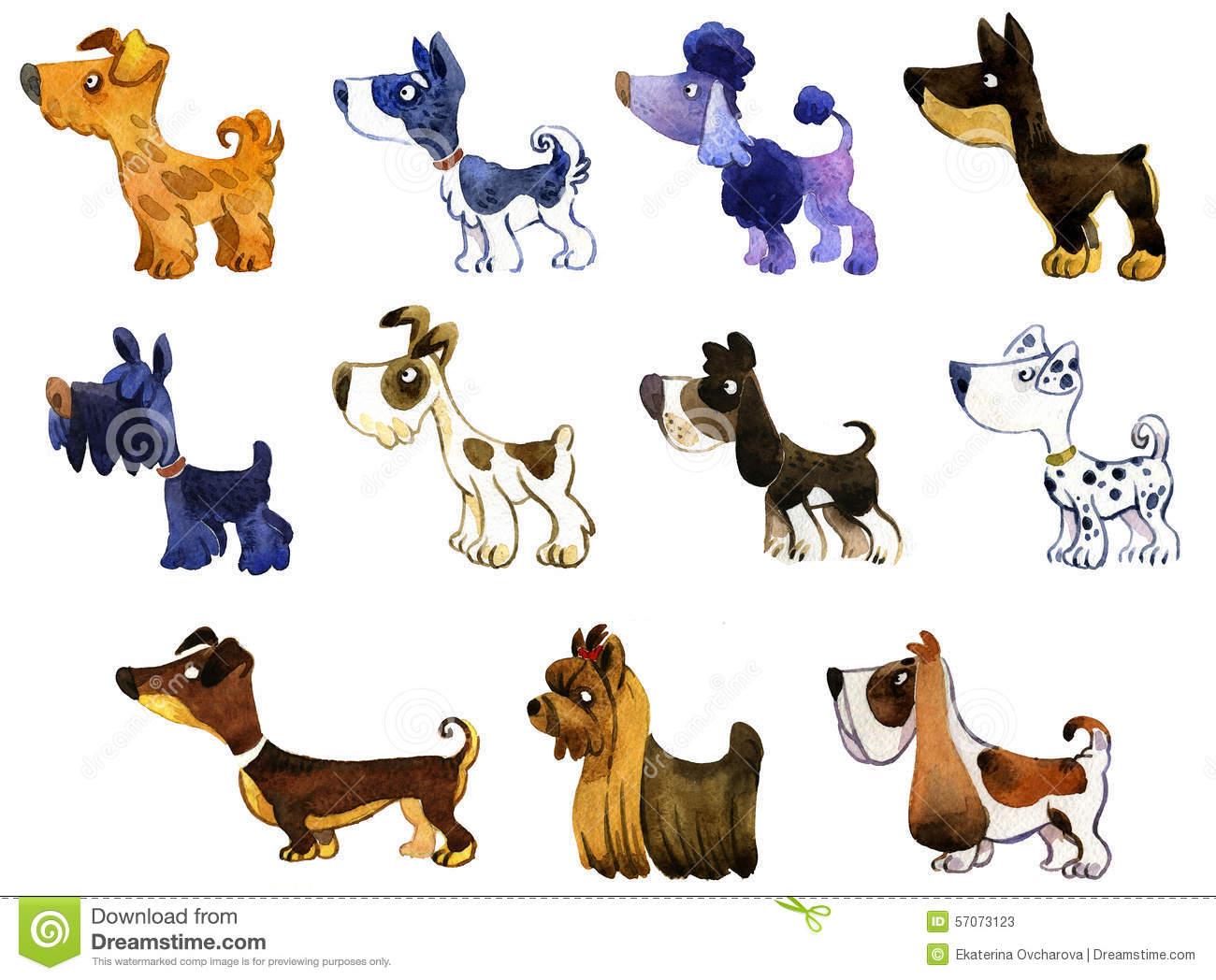 Set Of Watercolor Cartoon Dogs: Dalmatian, Poodle, Doberman, Spa.