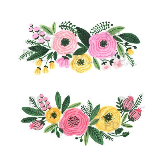 Watercolor Floral Clipart, Watercolor Flowers, Floral Clip.