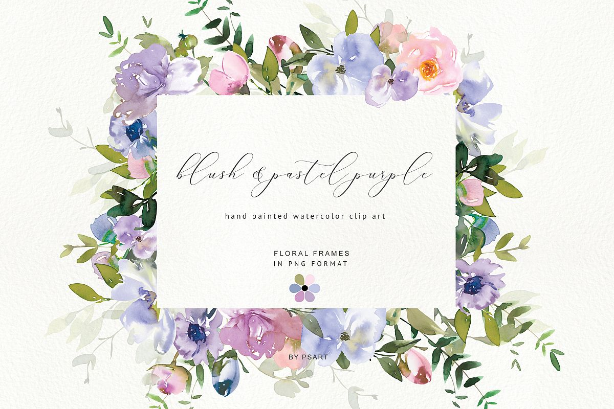 Watercolor Floral Clipart Blush Purple Frame Collection.