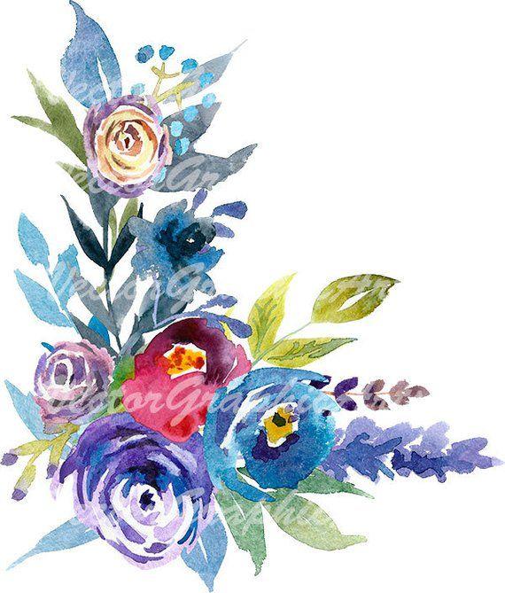 Blue and Indigo Flowers Corner. Digital clipart.