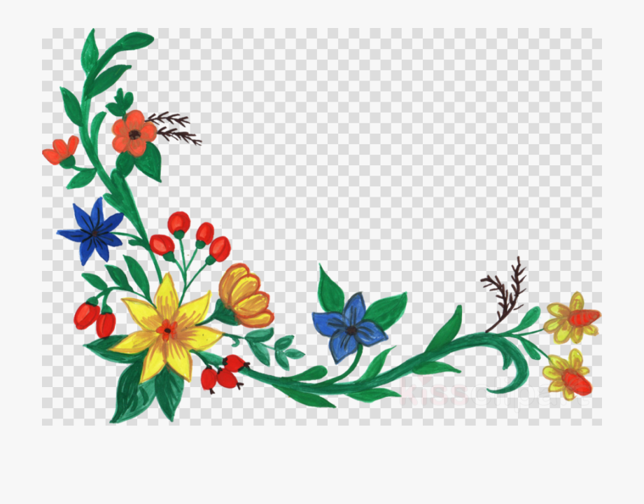 Download Flower Watercolor Corners Transparent Clipart.