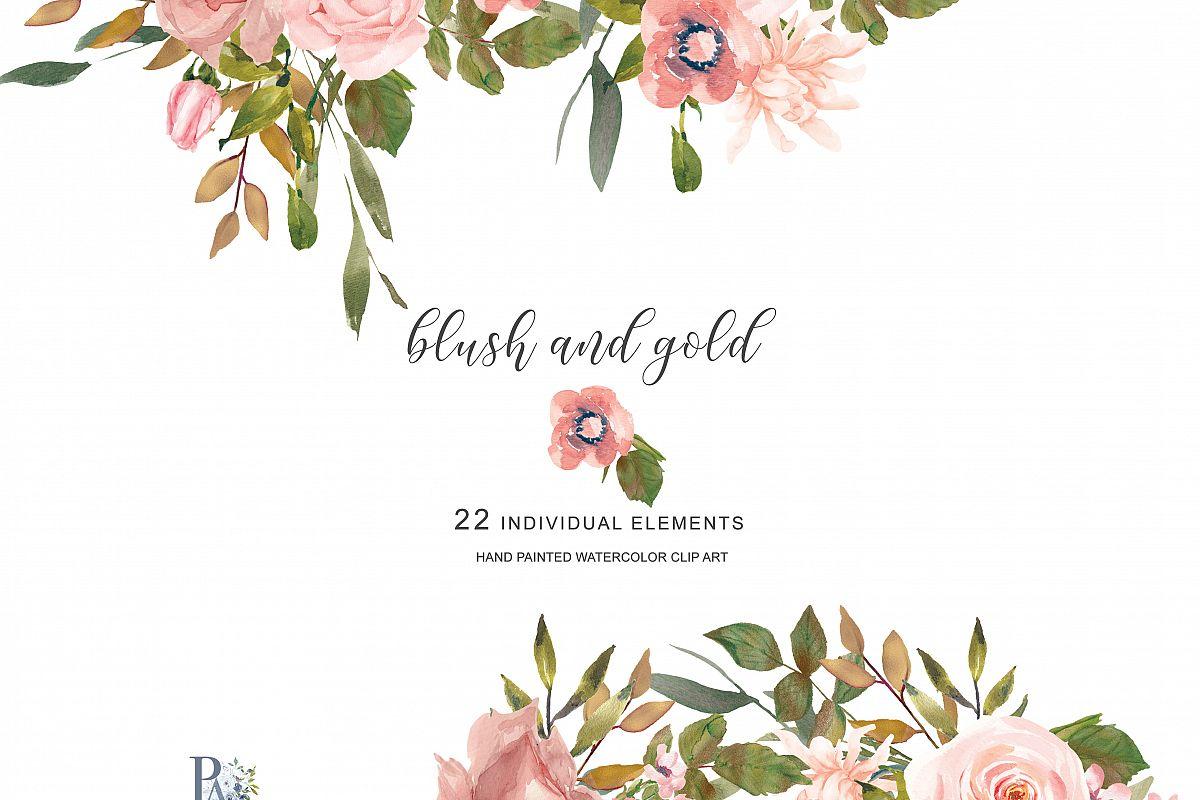 Watercolor Flower Clipart Separate Elements.