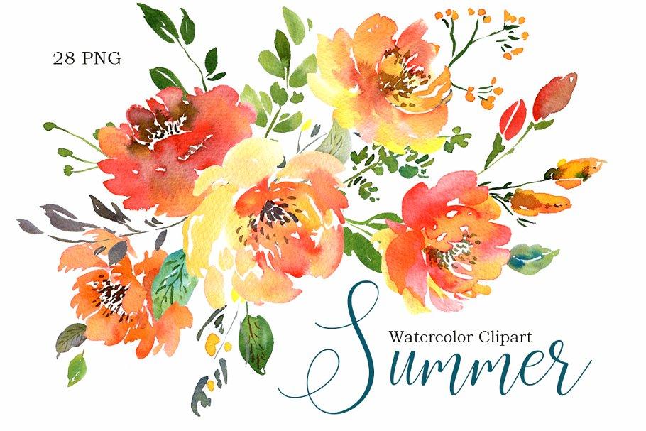 Summer Orange Watercolor Flowers PNG.