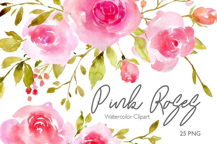 Pink Watercolor Flowers Roses PNG.