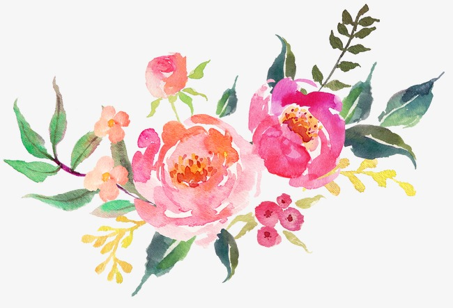 Beautiful Fresh Flowers Watercolor, Watercolor Clipart.