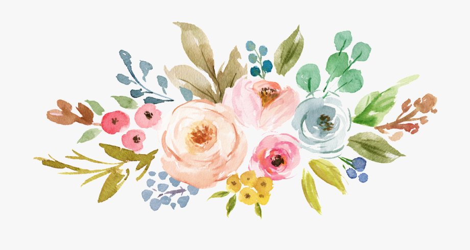 Ink Colorful Transparent Hand Painted Flowers Png.