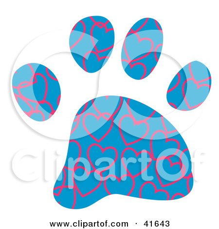 Clipart of a Watercolor Heart Patterned Dog Paw Print.