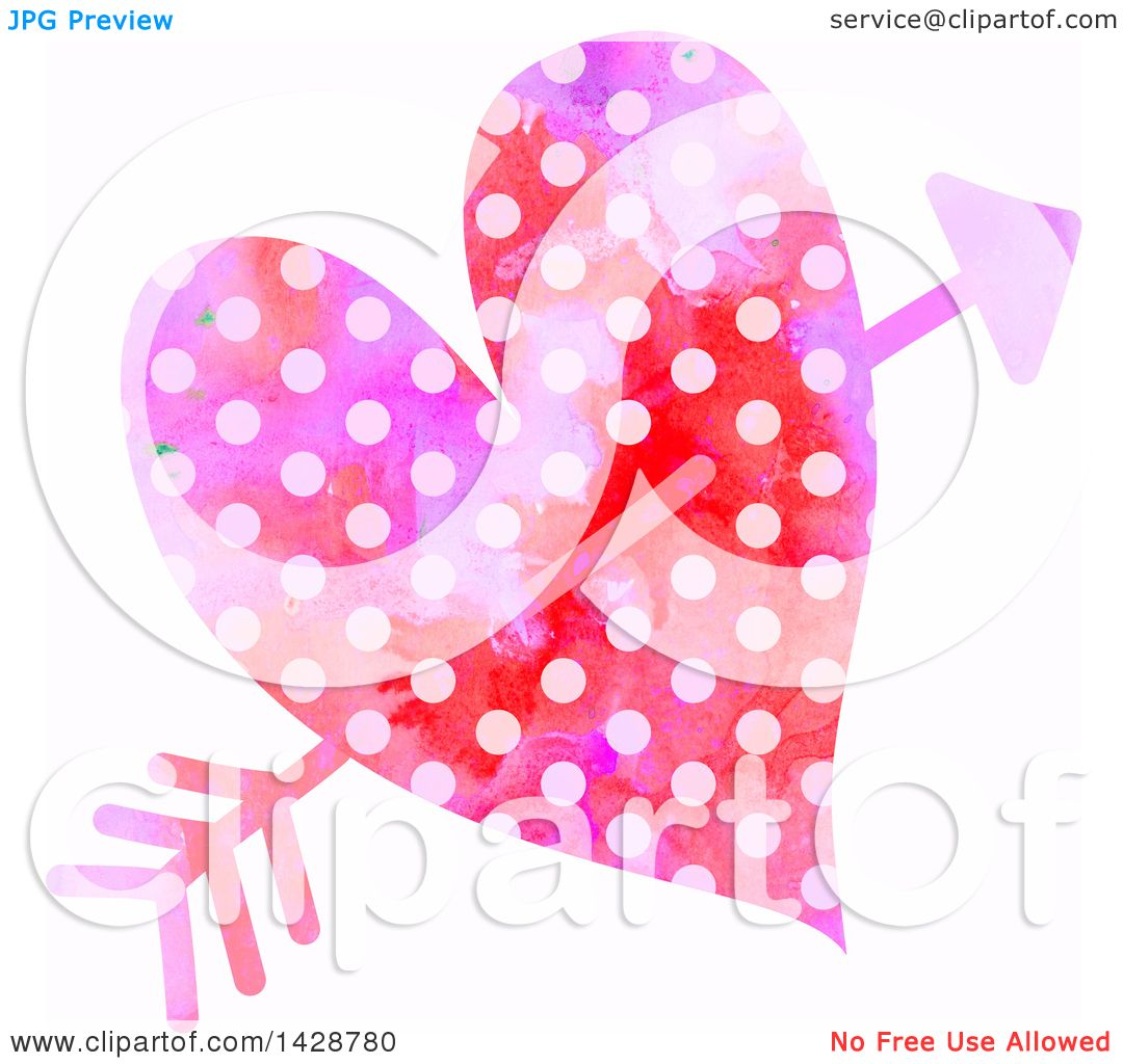 Clipart of a Watercolor Polka Dot Heart Struck with Cupids Arrow.