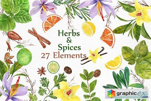 Watercolor Herbs and spices clipart » Free Download Vector.
