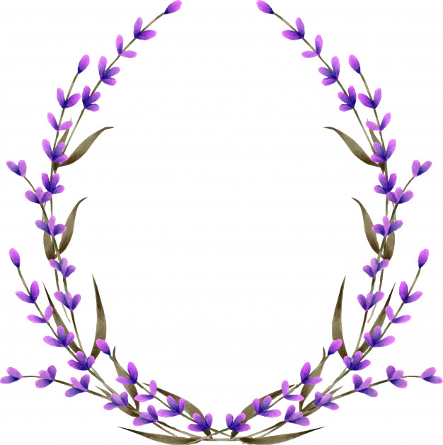 Wreath, frame border with watercolor lavender flowers Vector.