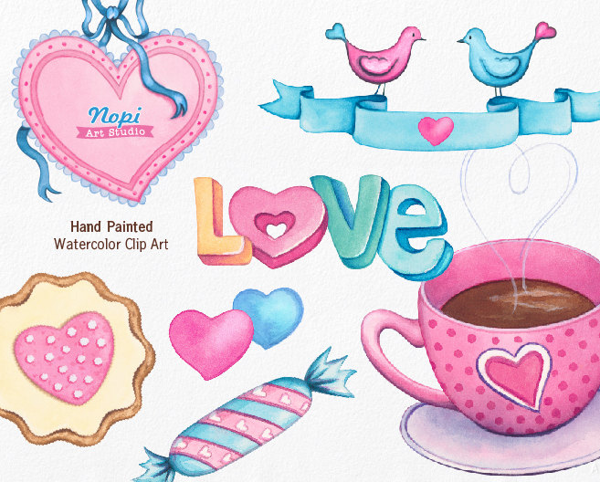 Sweets Coffee Cup Clip art, Candies Hearts Clipart, Watercolor.