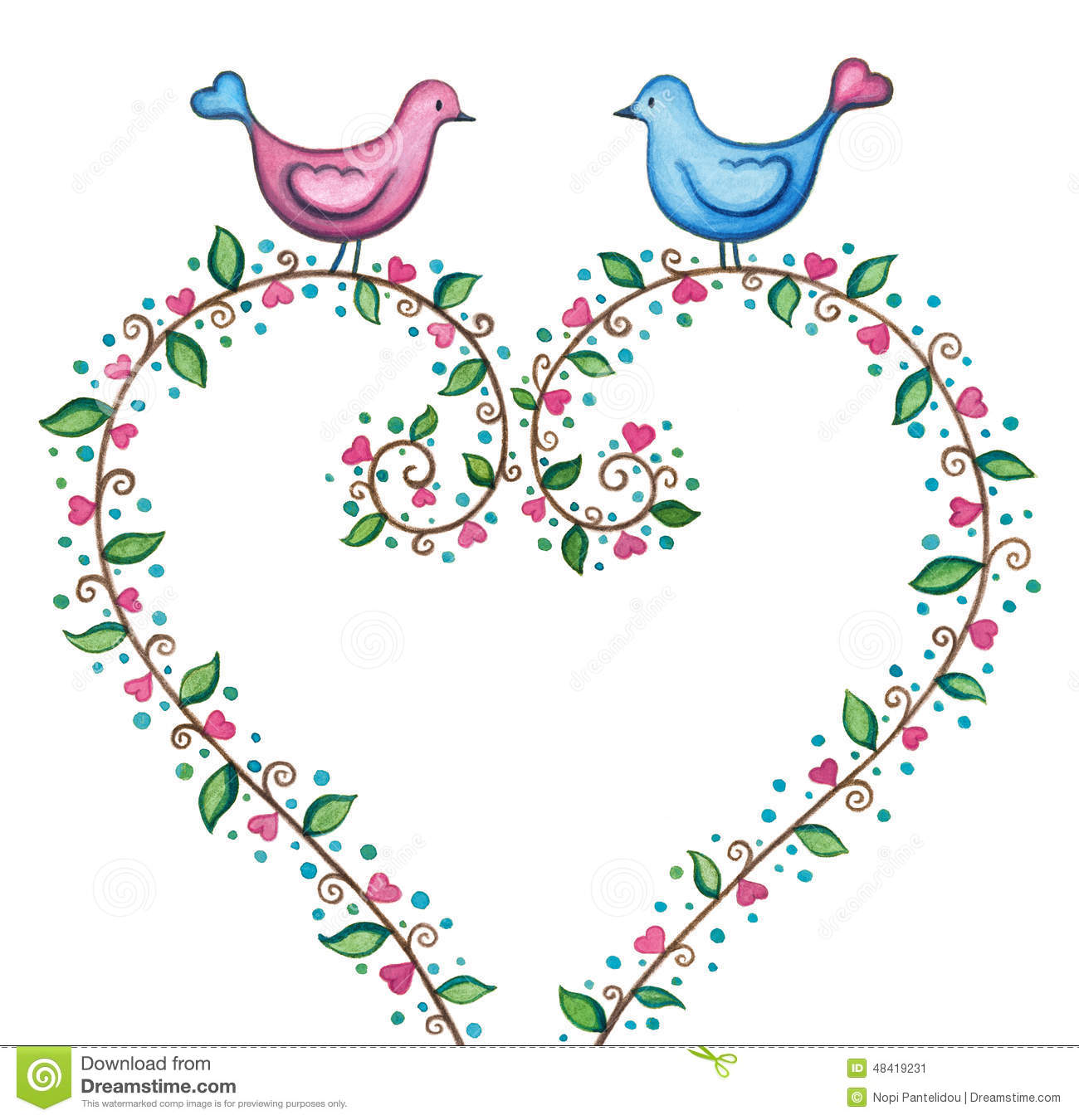 Valentines Love Birds With Floral Heart Stock Illustration.