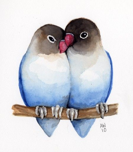 water color love birds clipart
