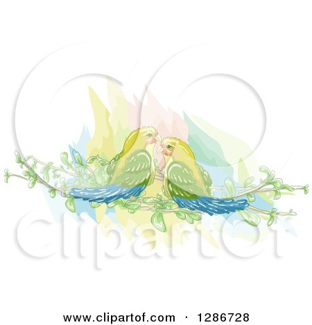 Clipart of a Pair of Love Birds on Cocktail Glasses.