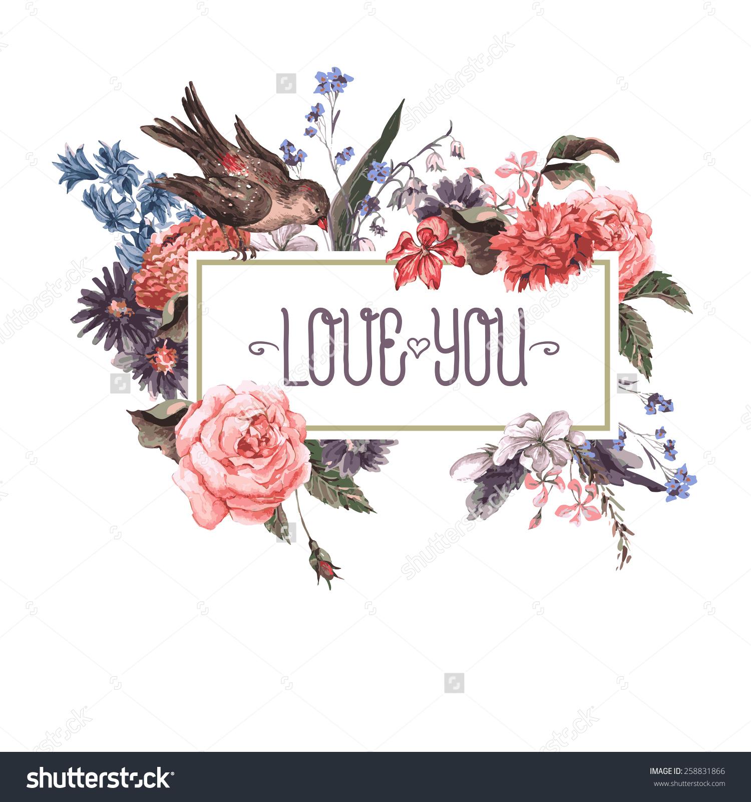 Vintage Watercolor Greeting Card Blooming Flowers Stock Vector.