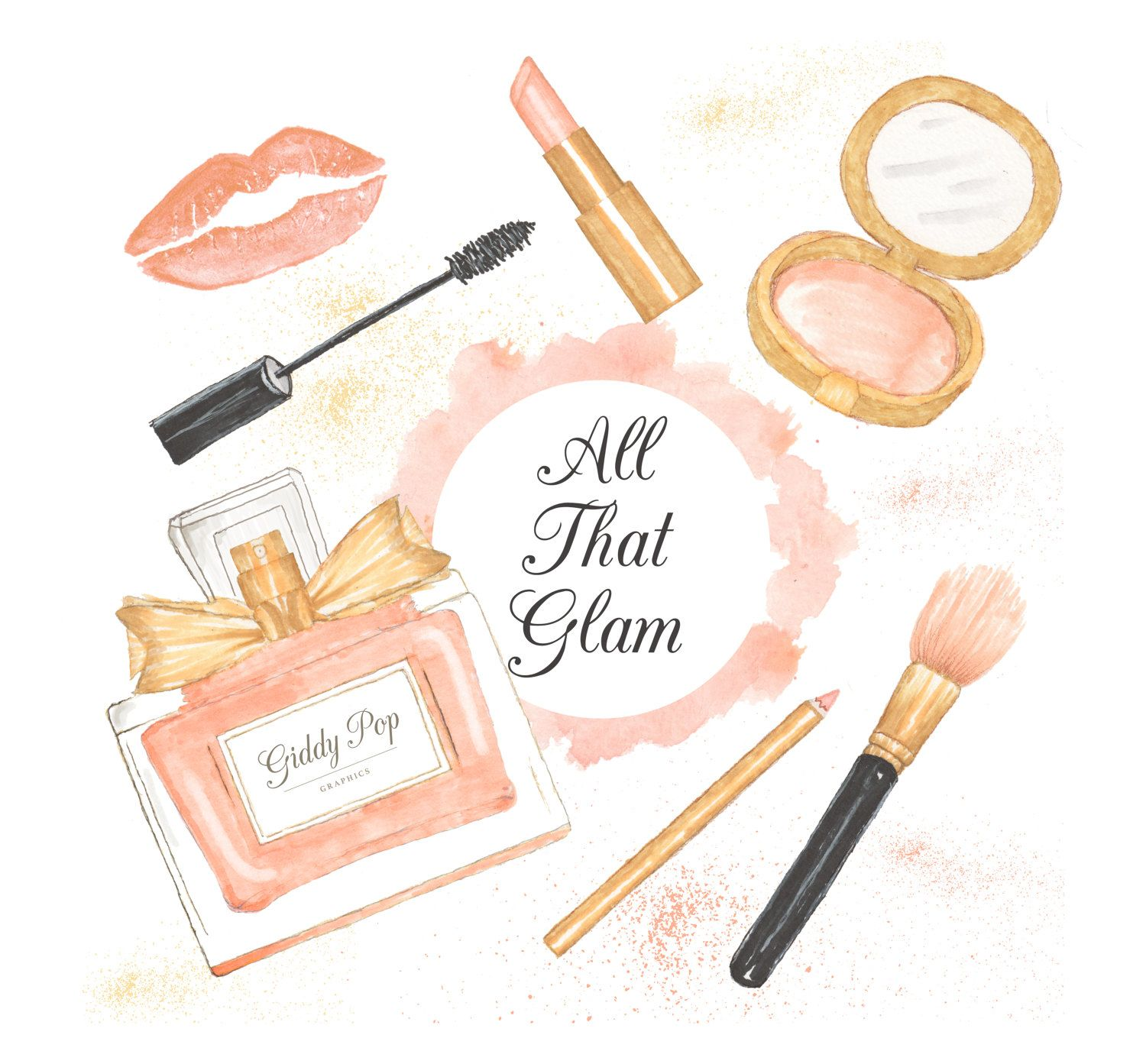 Watercolor Makeup clipart, cosmetic clipart, , Fashion.