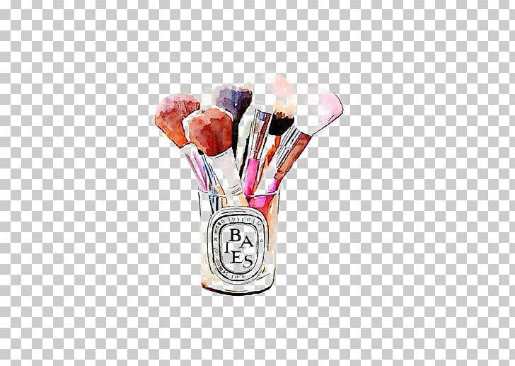 Cosmetics Makeup Brush Watercolor Painting Illustration PNG.