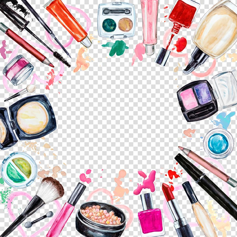 Cosmetics illustration, Cosmetics Watercolor painting Makeup.