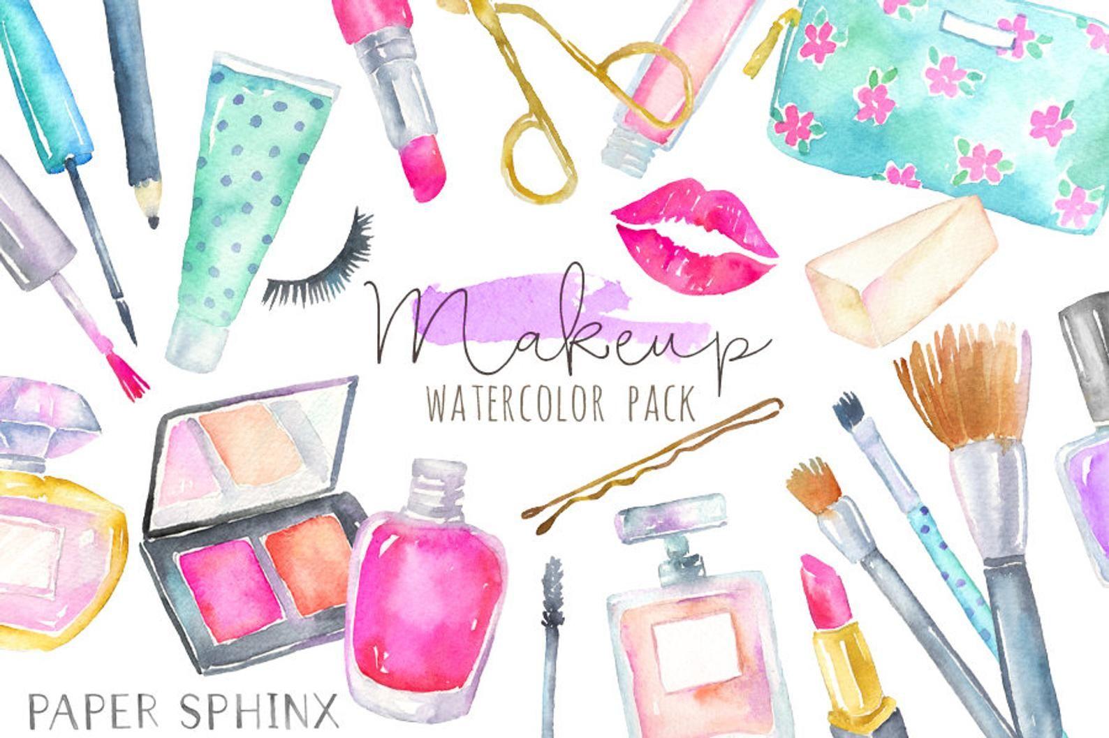 Watercolor Makeup Clipart.