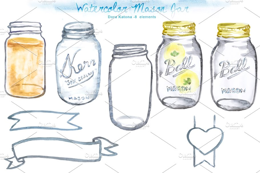 Watercolor Mason Jar Clipart.